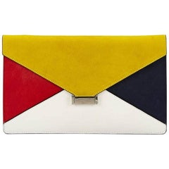 Celine Multicolor Diamond Leather and Suede Clutch