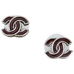 Chanel Brown Logo Earrings