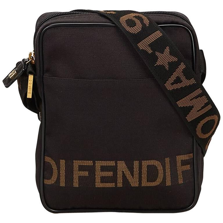 Fendi Brown Nylon Crossbody Bag For Sale