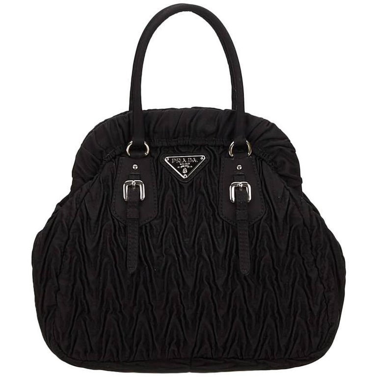 Prada Black Gathered Nylon Handbag For Sale