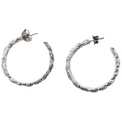 John Hardy Sterling Silver and Pave Diamond Hoop Earrings with Dust Bag