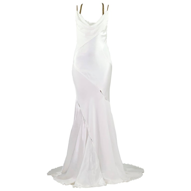 F/W 2014 VERSACE RUNWAY FINALEE WHITE GOWN Size 38 For Sale