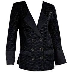 Chanel Black Lattice Double-Breasted Jacket