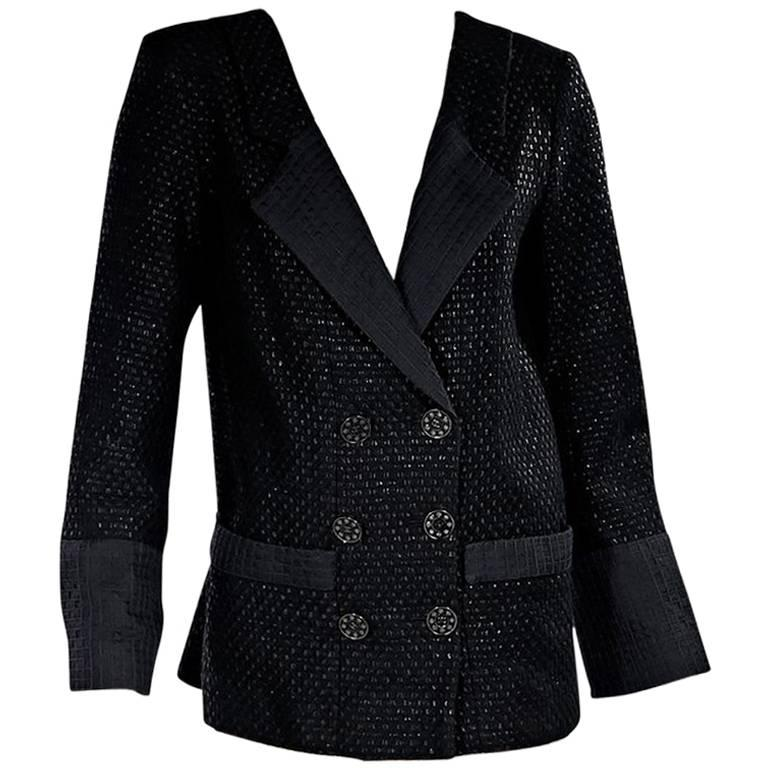 Chanel Black Lattice Double-Breasted Jacket For Sale