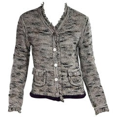 Chanel Grey Textured Wool Blend Cardigan