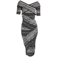 Christian Siriano Black and White Bandage Dress