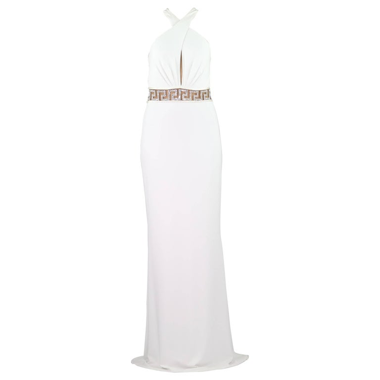 VERSACE CRYSTAL EMBELLISHED WHITE LONG DRESS Size 44