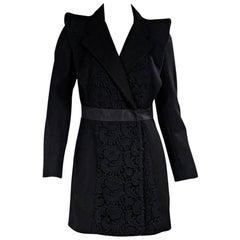 Prada Black Virgin Wool and Lace Coat