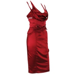 Tom Ford for Gucci F/W 2003 Ruby Red Corset Belt Silk Dress It. 40 - 4
