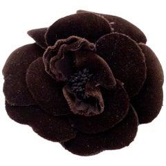 Chanel Brown Velvet Camellia Flower Brooch Pin