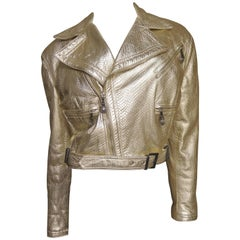 1990s Gianni Versace Gold Leather Motorcycle Jacket