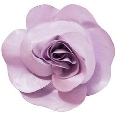 Chanel Lavender Camellia Flower Brooch Pin