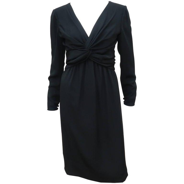 Circa 1980 Bill Blass Black Silk Cocktail Dress With a Twist