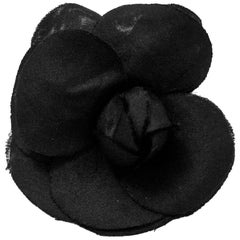 Chanel Small Black Camellia Flower Brooch Pin