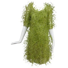Chado Ralph Rucci spring green chiffon feather and sequin dress