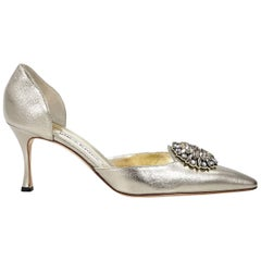 Metallic Gold Manolo Blahnik Leather D'Orsay Pump