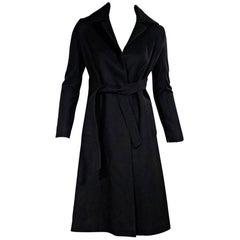 Black Diane von Furstenberg Wool-Blend Wrap Coat