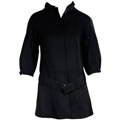 Black Prada Virgin Wool Belted Coat