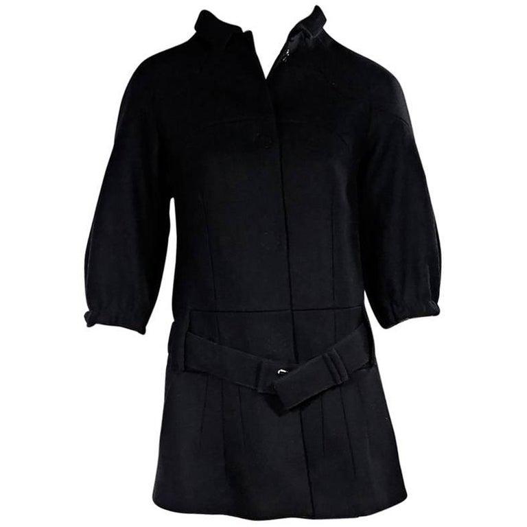 Black Prada Virgin Wool Belted Coat