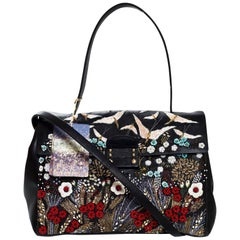 Valentino Black Embroidered Leather Top Handle Bag rt. $4,295