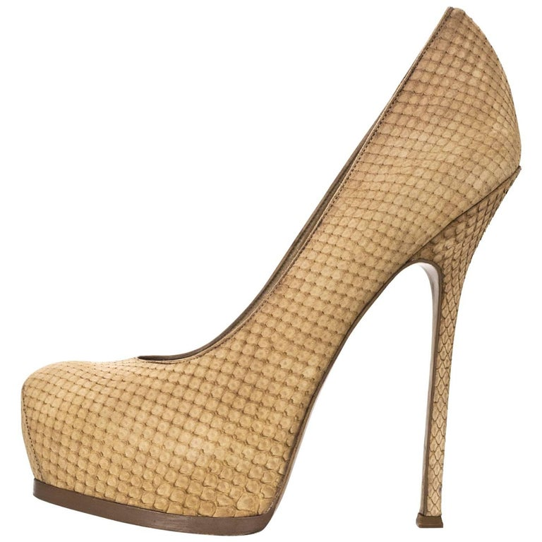 YSL Beige Sueded Python Tribute Two 105mm Pumps Sz 40 For Sale