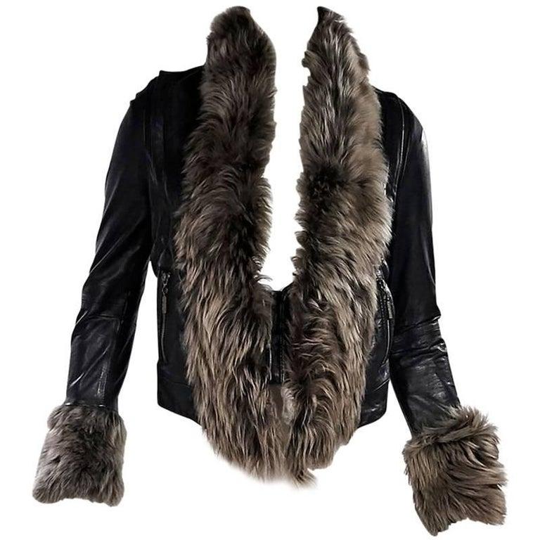 Black Mike Gonzalez Leather Fur-Trimmed Jacket