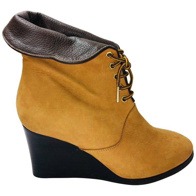 Chloe Leather Wedge Booties