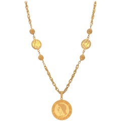 MIRIAM HASKELL c.1960's Gold Roman Caesar Coin Medallion Pendant Necklace