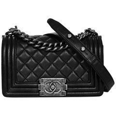 Chanel Black Quilted Lambskin Small Boy Bag with Dust Bag