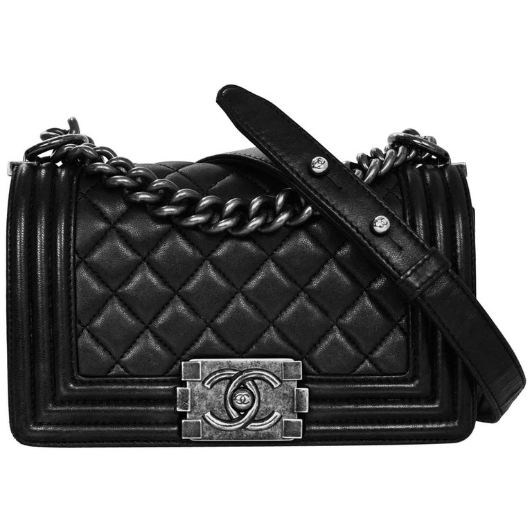 Chanel Black Quilted Lambskin Small Boy Bag With Dust For