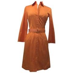 Hugo Boss Belted Orange Shirt Dress