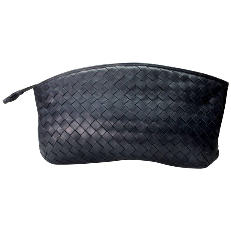 Bottega Veneta Intrecciato Woven Leather Clutch For Sale