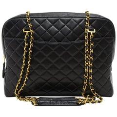 Chanel Vintage XL Tote Black Shoulder Bag  Quilted Lambskin Leather