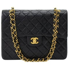 Chanel Vintage 2.55 10 inch Tall Double Flap Black Quilted Leather Shoulder Bag