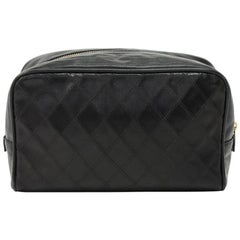 Chanel Vintage Black Calfskin Leather Cosmetic Case Pouch