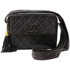 Chanel Vintage 9 Inch Flap Brown Quilted Leather Fringe Shoulder Bag