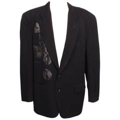 Comme des Garcons Homme Plus Dark Navy Screen-Printed Jacket  S