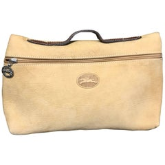 Vintage Longchamp beige suede leather travel pouch, Mini purse with logo motif.