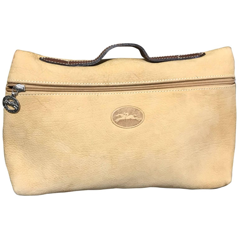 Longchamp Vintage Longchamp Beige Suede Leather Travel Pouch, Mini Purse With Logo Motif