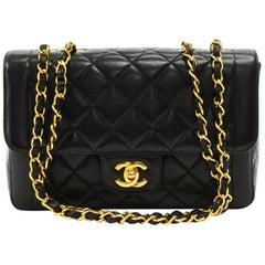 Chanel Vintage 9 Inch Tall Black Quilted Leather Shoulder Flap Bag