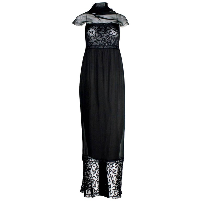 Important Chanel Lace Silk CC Logo Evening Dress Gown with Detachable Scarf