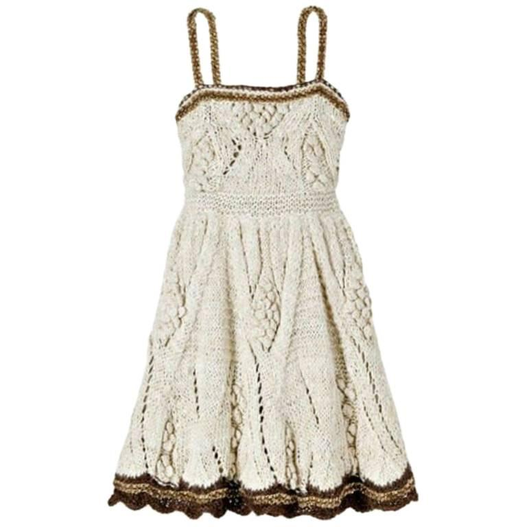 Chanel Signature Crochet Knit Dress with Chain Leather Details