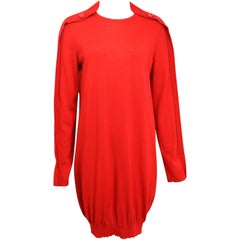 Alexander McQueen Red Wool Tunic Dress