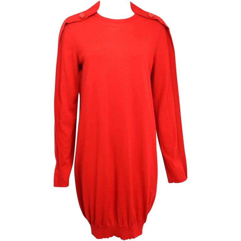 Alexander Mcqueen Red Wool Tunic Dress For Sale At 1stdibs