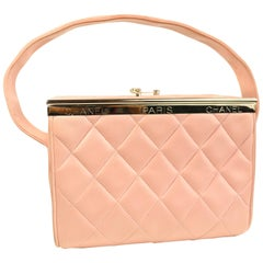 128ff8bb472c Chanel Vintage Pink Peach Woven Boucle Tweed Classic Flap Handbag ...