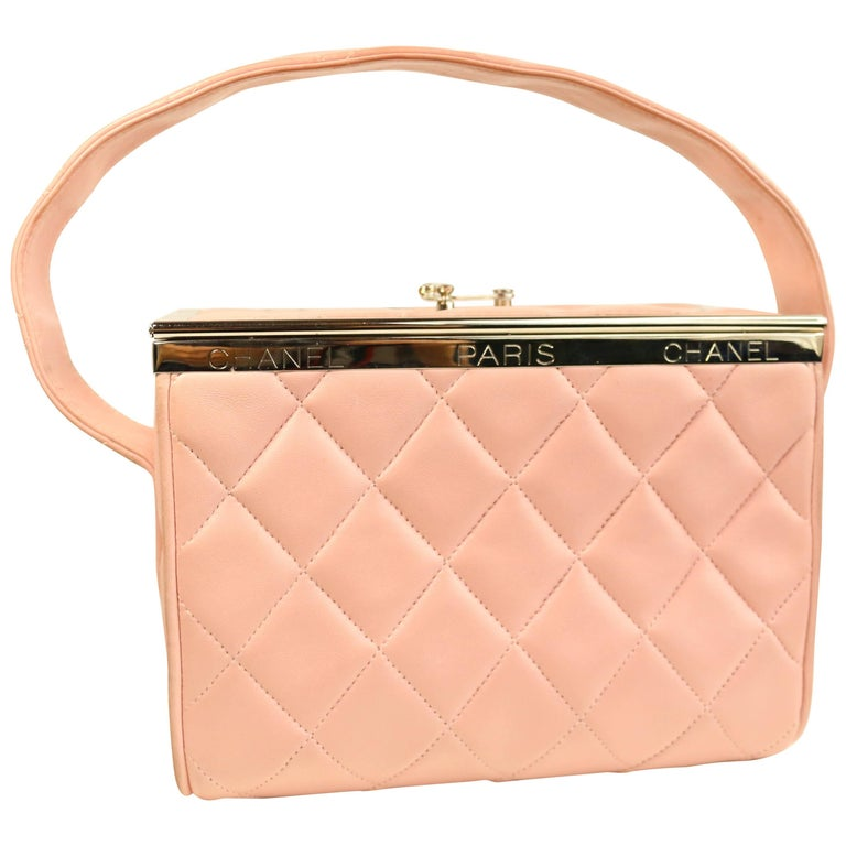 7d062a9051d2 Chanel Pink Quilted Lambskin Leather Box Handbag For Sale at 1stdibs