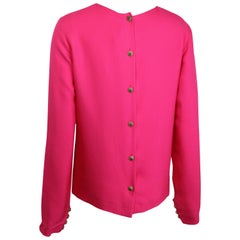 Chanel Fuchsia Pink Silk Shirt with Back Gripoix buttons