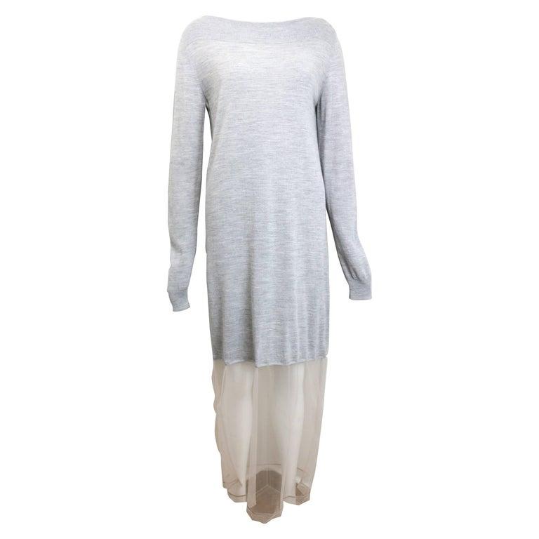 Maison Martin Margiela No 1 Line Light Grey Jersey Long Dress with Mesh