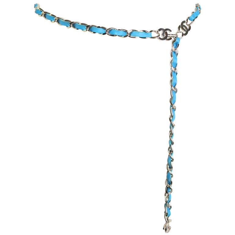 "Chanel Turquoise Lambskin Leather ""CC"" Silver Chain Belt For Sale"