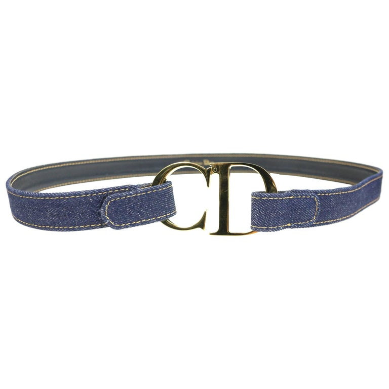 "Christian Dior Gold Toned ""CD"" Denim Belt"
